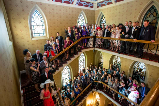 Macdonald Randolph Hotel Weddings guests on staircase