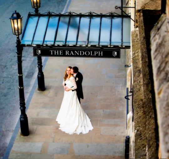 Macdonald Randolph Hotel Weddings Couple at Entrance