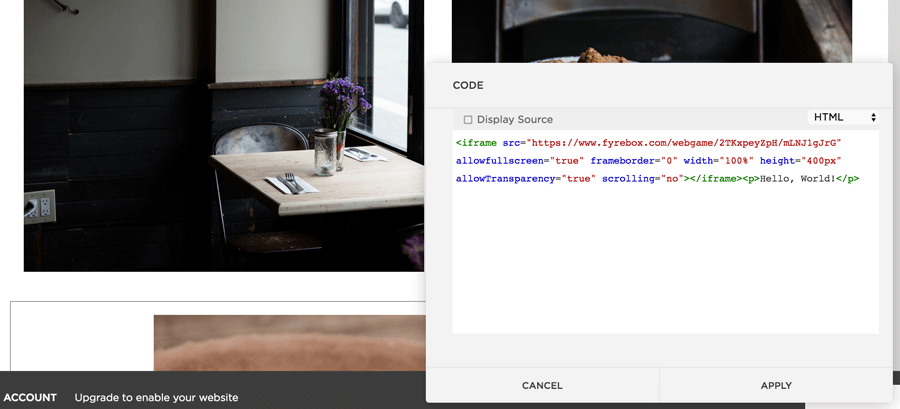 paste embed code Fyrebox squarespace