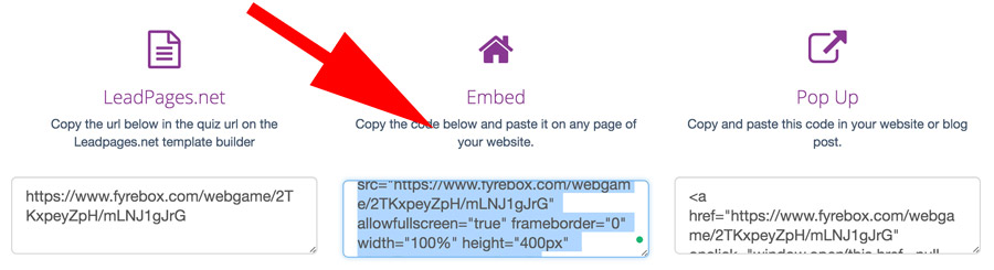 embed code fyrebox squarespace integration