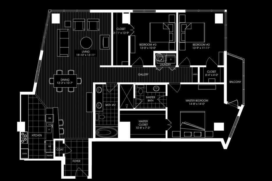 3 bed 2 bath 1872sqft apartment