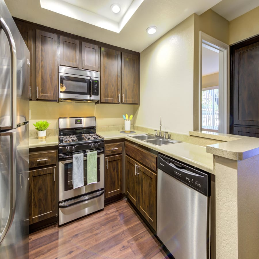 Renovated Brown Kitchen with stainless steel appliances at ((location_name}}
