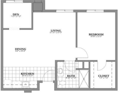 1 bed + den Assisted Living Floor Plan