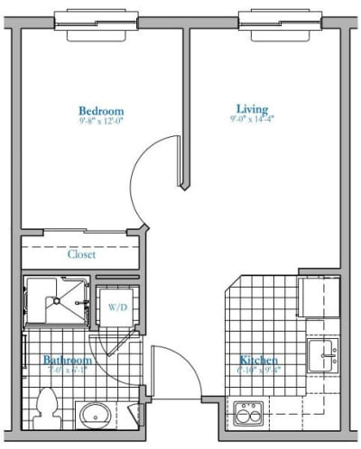 1 bed 1 bath Independent Living Floor Plan