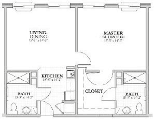 2 Bed and 2 Bath Assisted Living Floor Plan