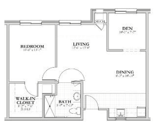 Floor Plan E 1 Bedroom 1 Bath Meadow Brook