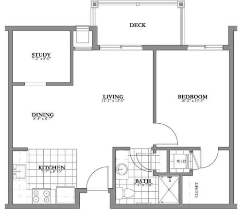 1 bed 1 bath + den Independent Living Floor Plan