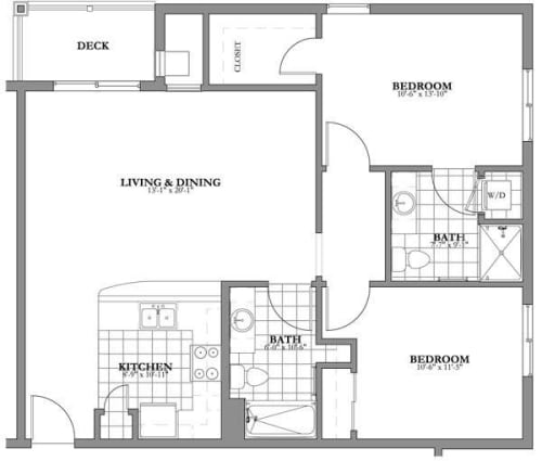 2 bed 2 bath Independent Living Floor Plan