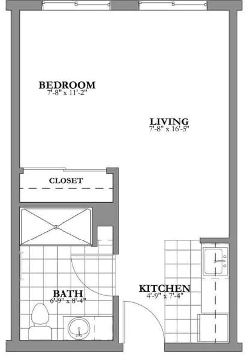 Studio Assited Living Floor Plan