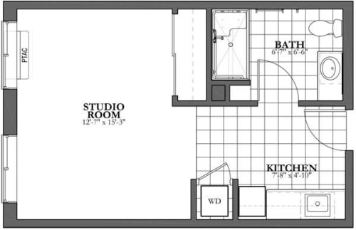 Studio Assisted Living Floor Plan