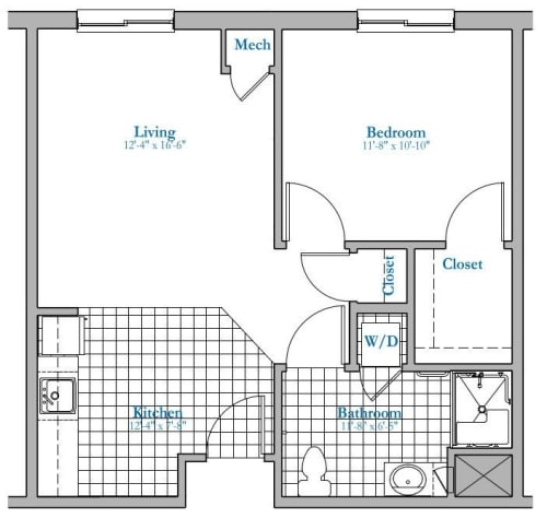 1 bed 1 bath Assisted Living Floor Plan