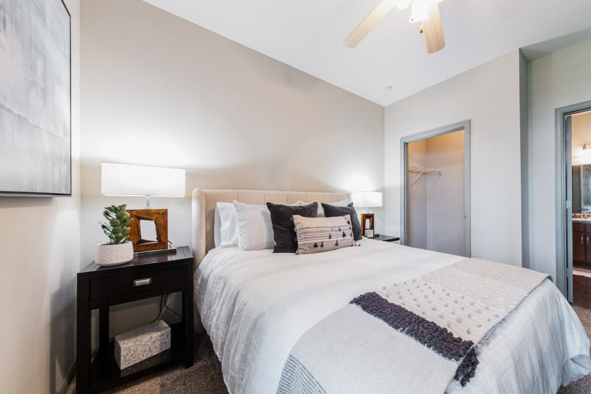 Carpeted bedroom at Marquis at Katy in Katy, Texas