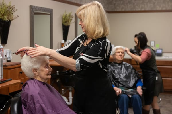 Residents getting their hair done at Aurora on France in Edina, Minnesota.