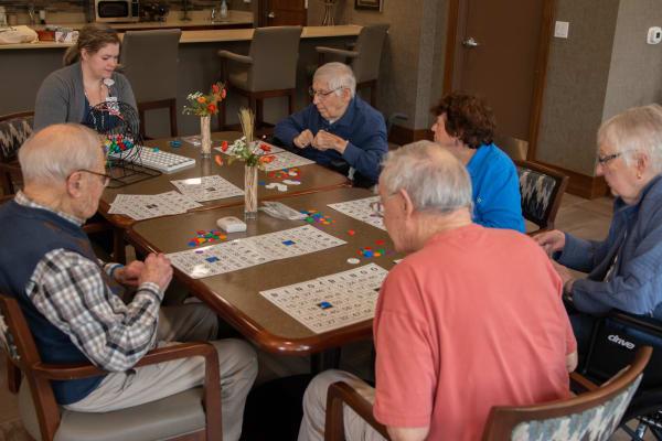 Residents playing bingo at Aurora on France in Edina, Minnesota.