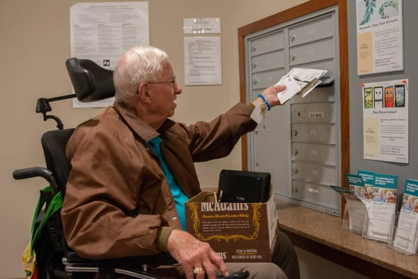 A resident getting the mail at Aurora on France in Edina, Minnesota.