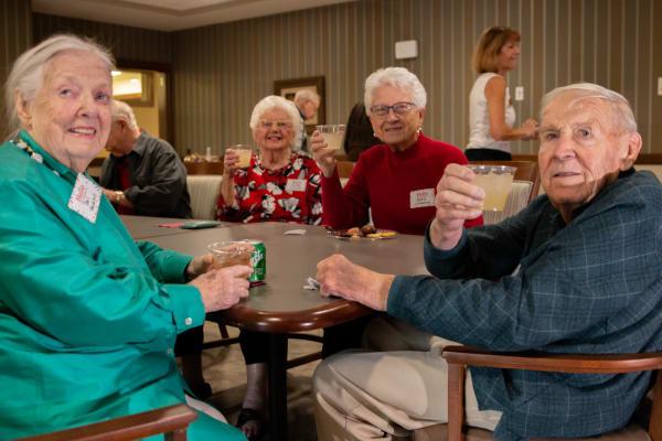 Residents enjoying some beverages at Aurora on France in Edina, Minnesota.
