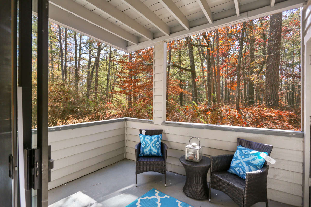 Spacious, covered private balcony outside a model home at Reserve at Peachtree Corners in Norcross, Georgia