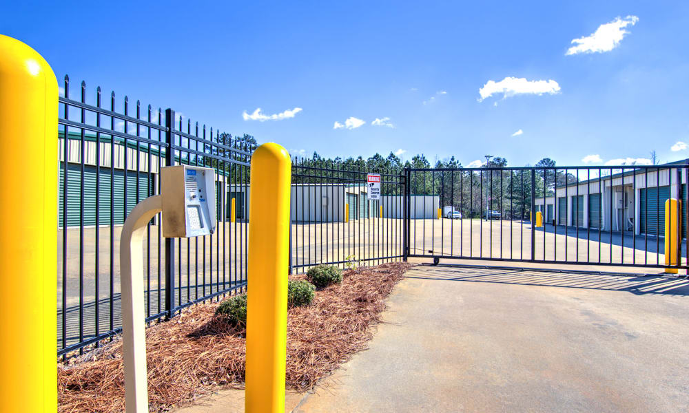Gated entrance at Prime Storage in Marietta, Georgia