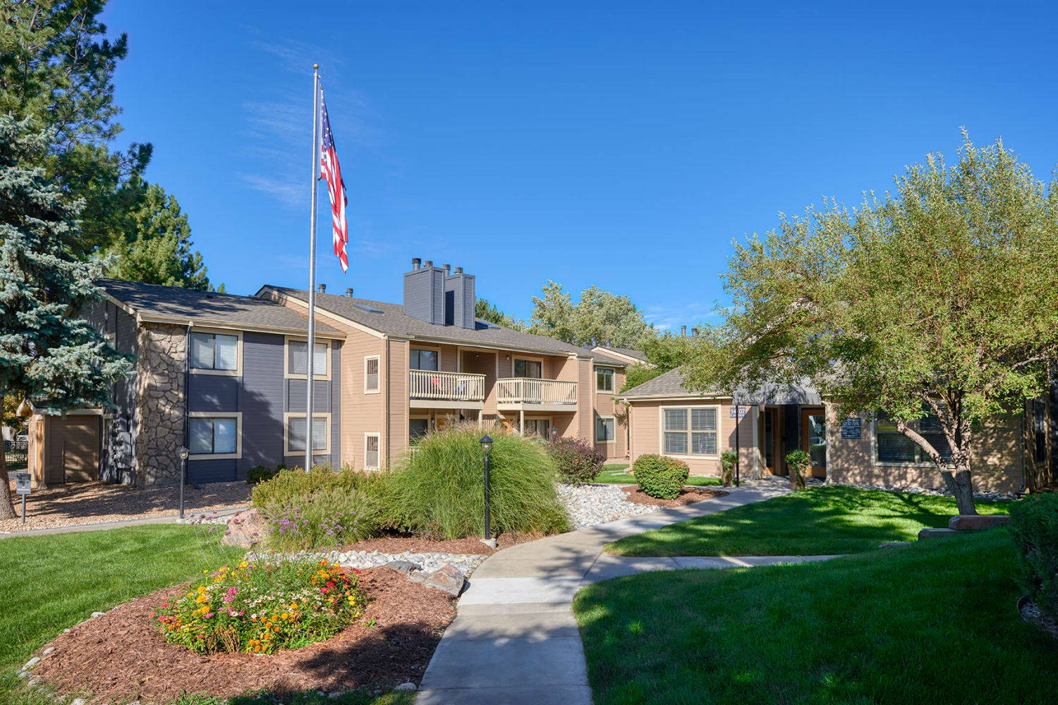 Apartment home entrance at City Center Station Apartments in Aurora, Colorado