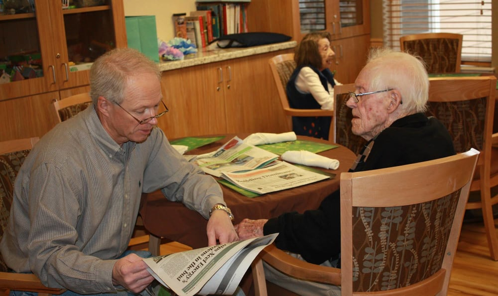 Two men at our senior living facility in Oak Lawn