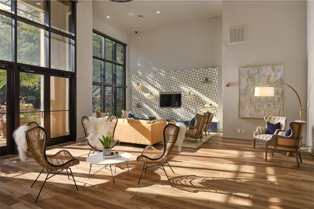 Open concept living room at Seville Uptown in Dallas, Texas