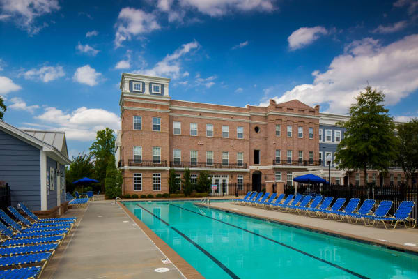Large swimming pool at Worthington Apartments & Townhomes in Charlotte, North Carolina