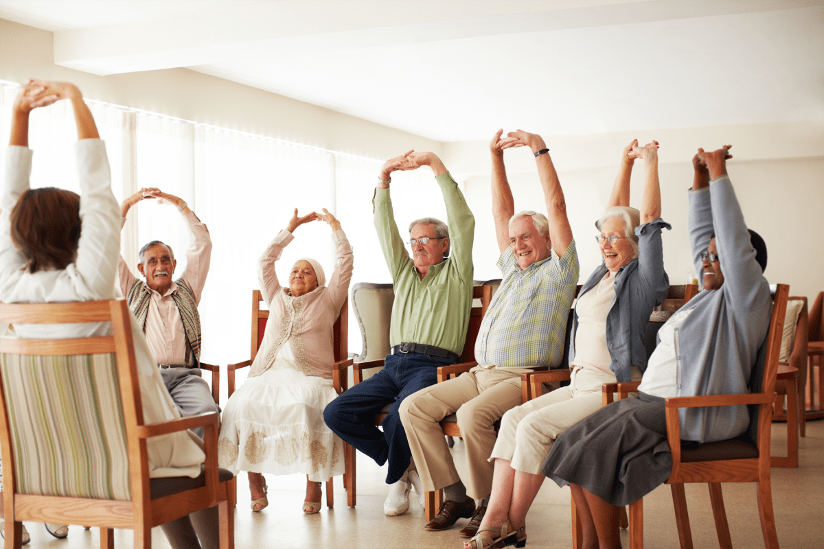 Residents participating in a fitness class at Chandler's Square Retirement Community in Anacortes, Washington