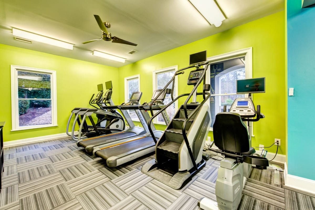 Cardio machines in fitness center at Marquis on Edwards Mill in Raleigh, North Carolina