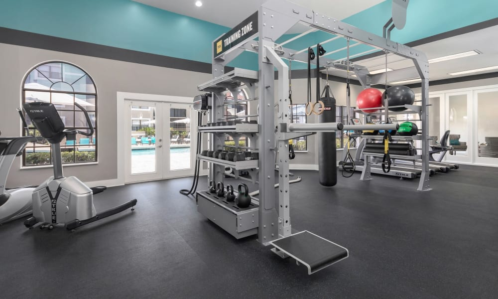 Modern fitness center at The EnV in Hollywood, Florida