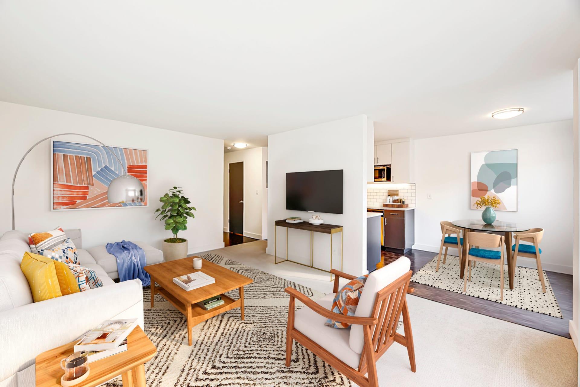 Modern Living area at Union 18 in Seattle, Washington