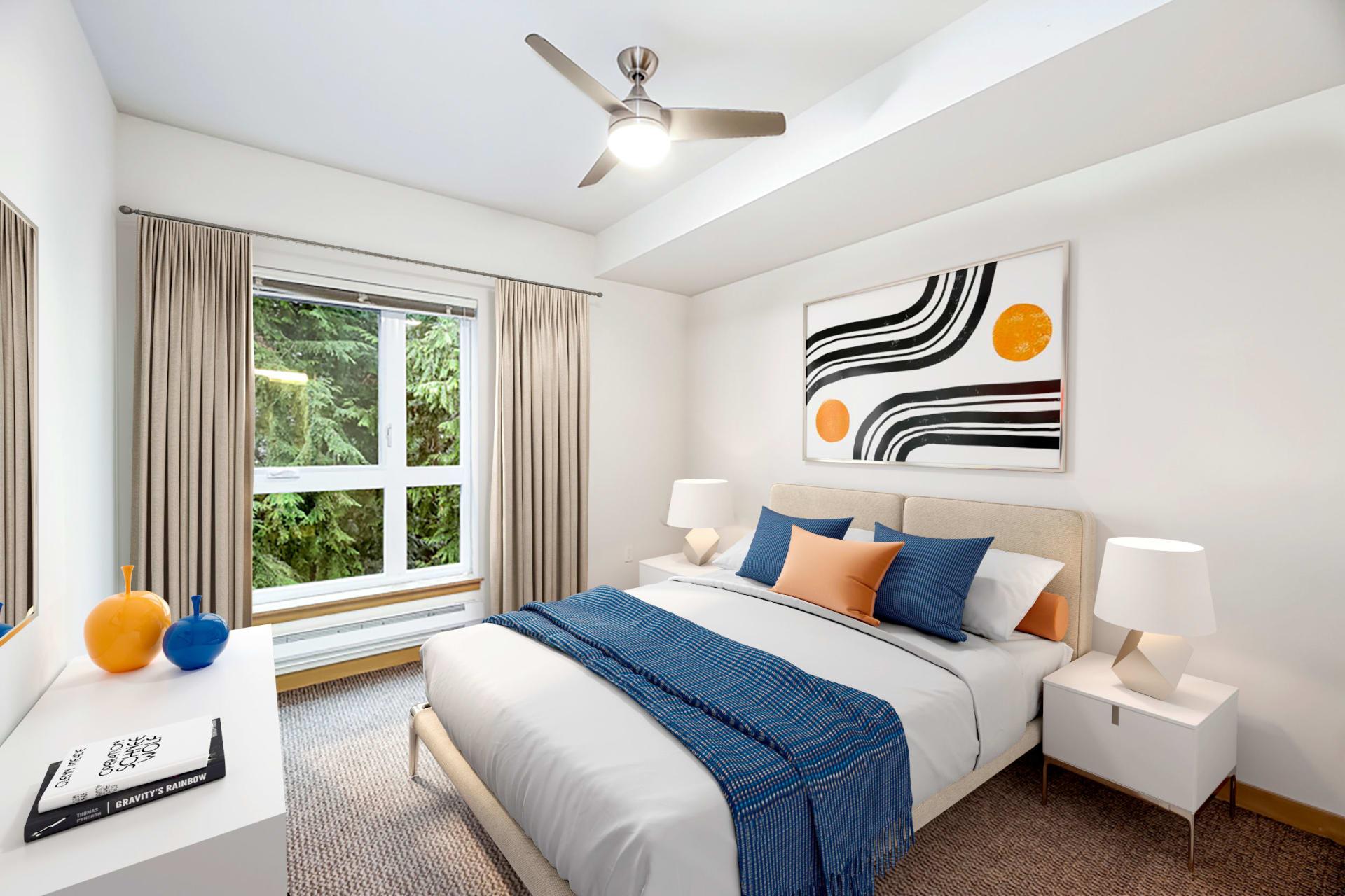 Model bedroom at Trillium Apartments in Edmonds, Washington