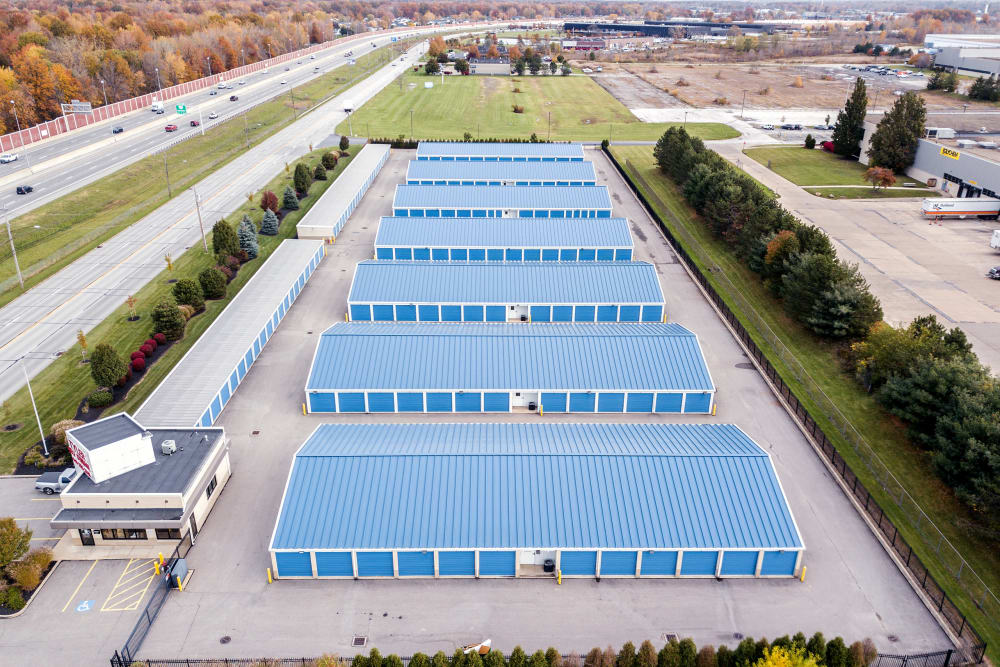 Aerial view of Tyler Self Storage in Mentor, Ohio