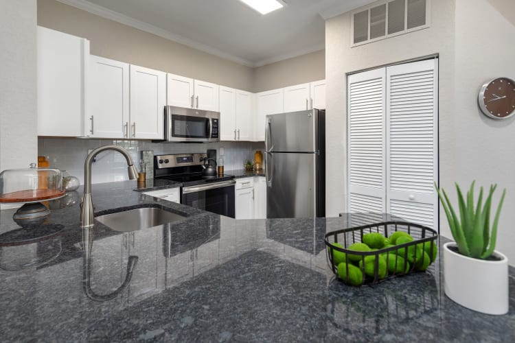 Kitchen with granite countertops in a model home at Mezza in Jacksonville, Florida