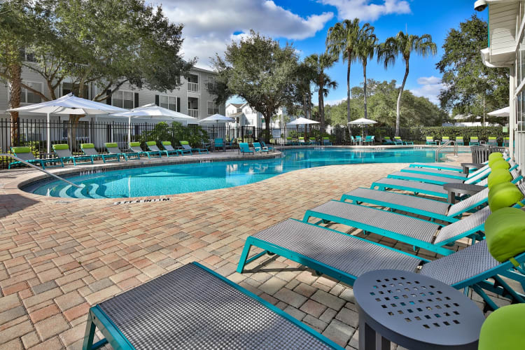 Resort-style swimming pool with plenty of chaise lounge chairs nearby for sunbathing at Amira at Westly in Tampa, Florida