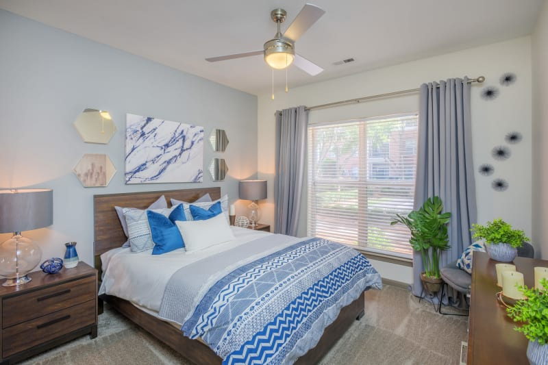 Modern decor in bedroom at Presley Oaks in Charlotte, North Carolina