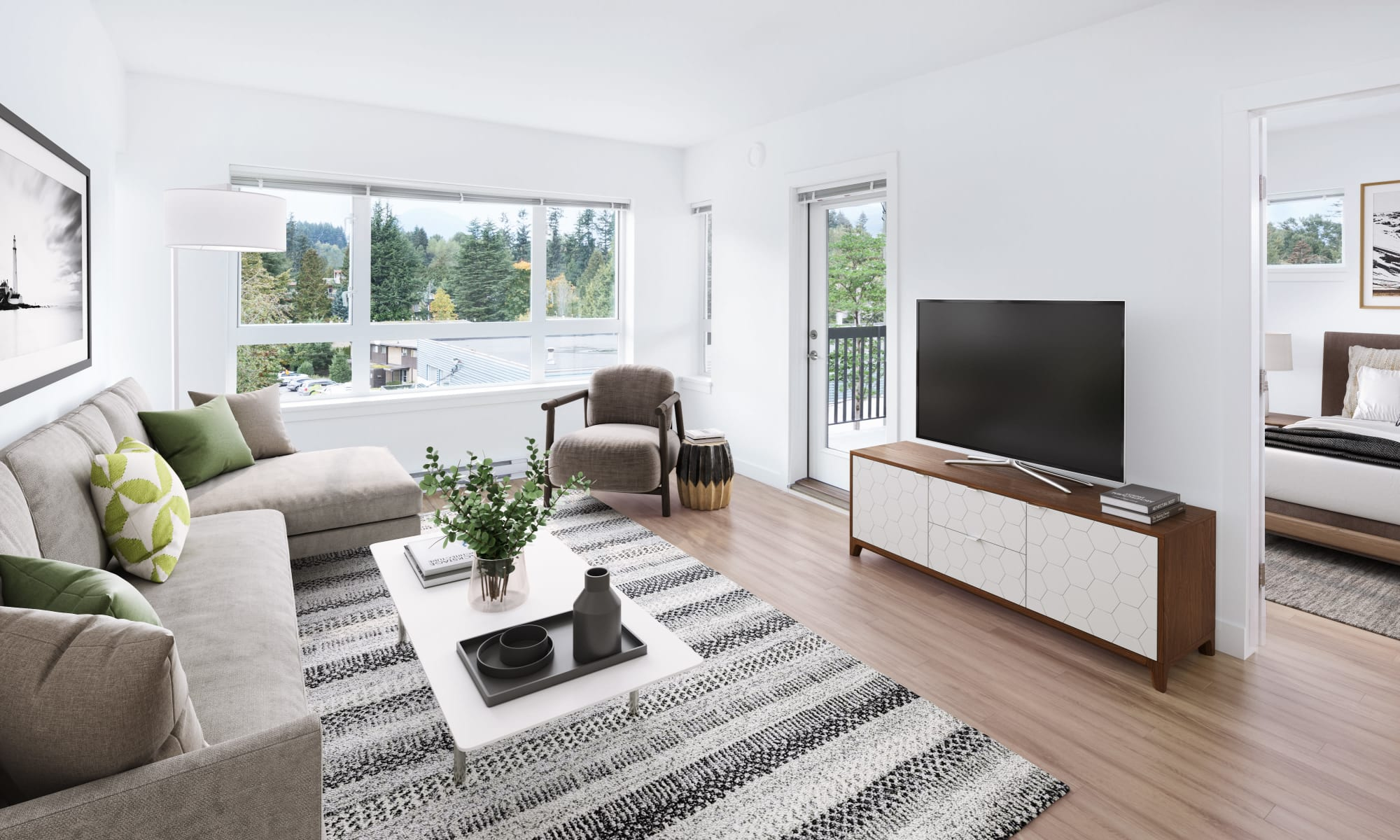Naturally lit living room at Northwoods Village in North Vancouver, British Columbia