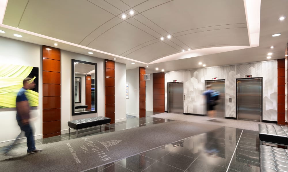 Lovely elevator lobby at Metropolitan Towers in Vancouver, British Columbia