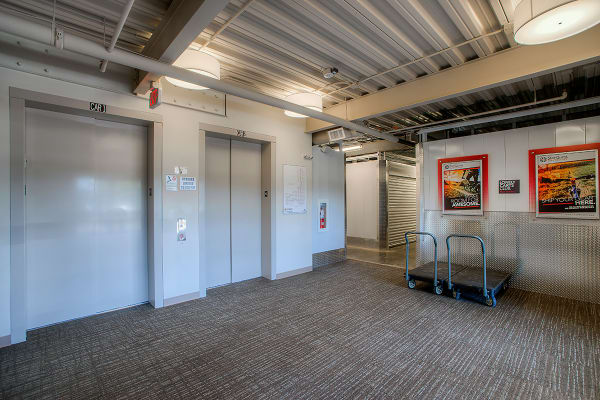 Elevators and carts at StorQuest Self Storage in Clearwater, Florida