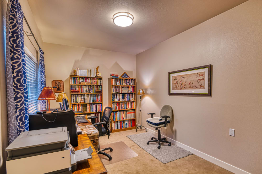 resident spare bedroom with office space at Patriots Landing in DuPont, Washington.