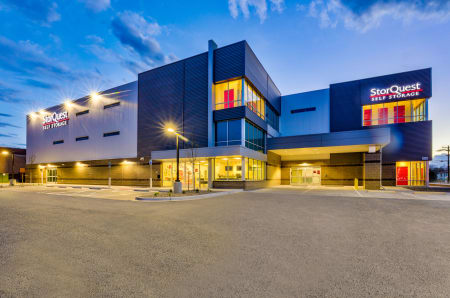 Twilight view of facility at StorQuest Self Storage in Denver, CO