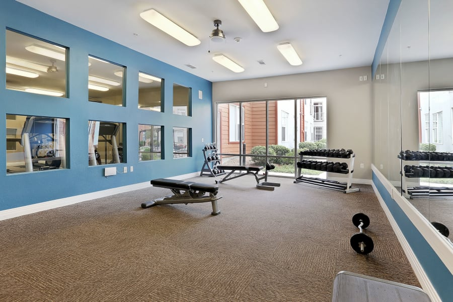 Spacious fitness center at Diamond at Prospect Apartments in Denver, Colorado