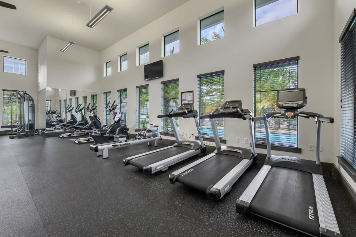 Large fitness center with vaulted ceilings at Marquis SoCo in Austin, Texas