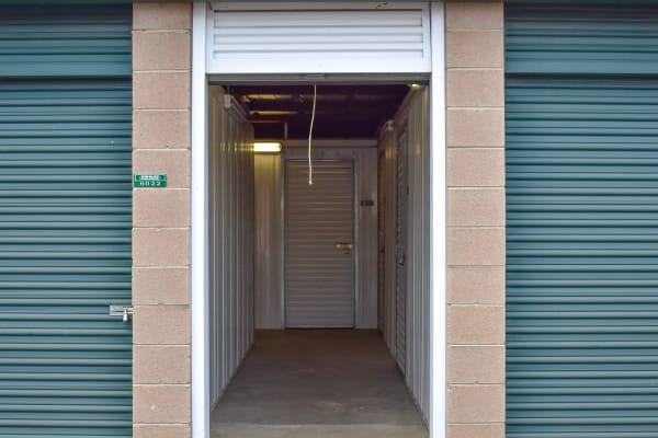 Looking into an open exterior storage unit at STOR-N-LOCK Self Storage in Littleton, Colorado