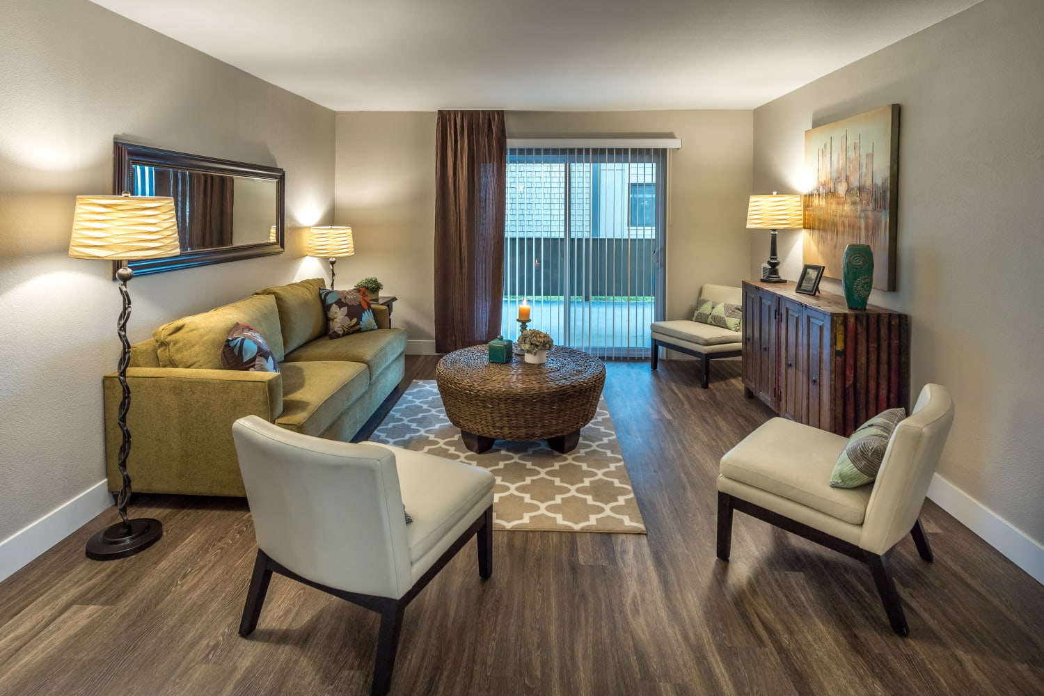 Well appointed living room at Harbor Cove Apartments in Foster City, California