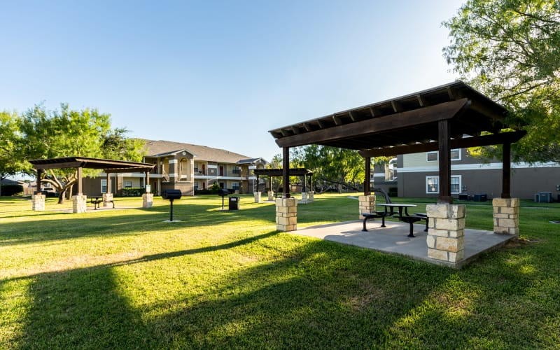 Great-for-entertaining picnic areas with grills at Pavilions at Northshore in Portland, Texas