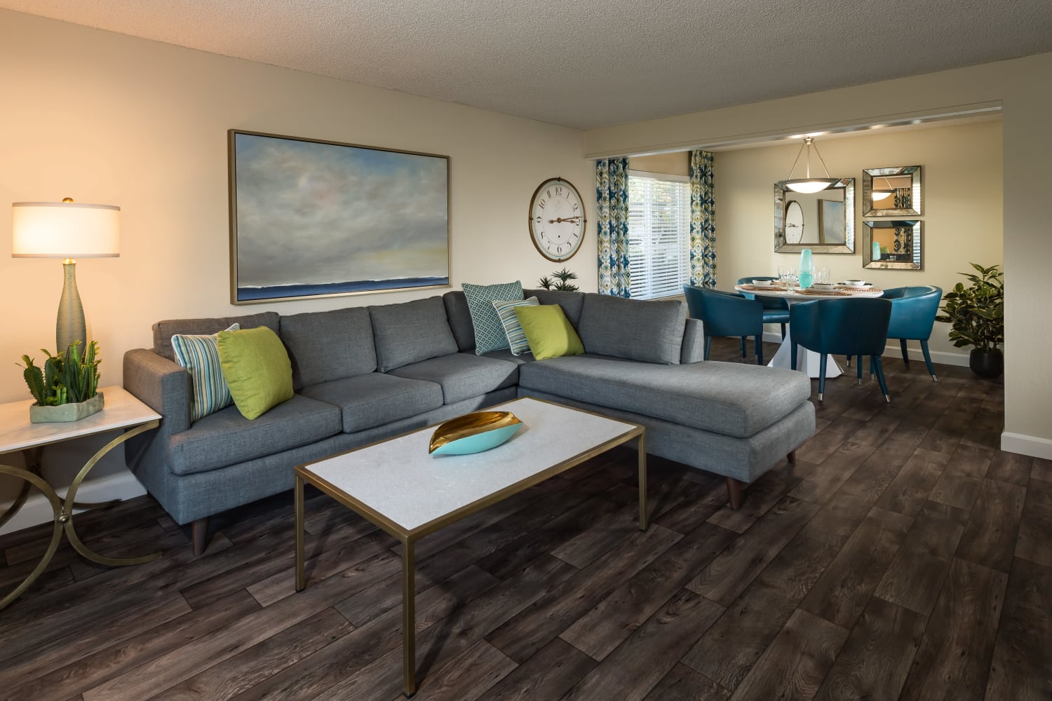 Well appointed living room at Edgewood Park Apartments in Bellevue, Washington