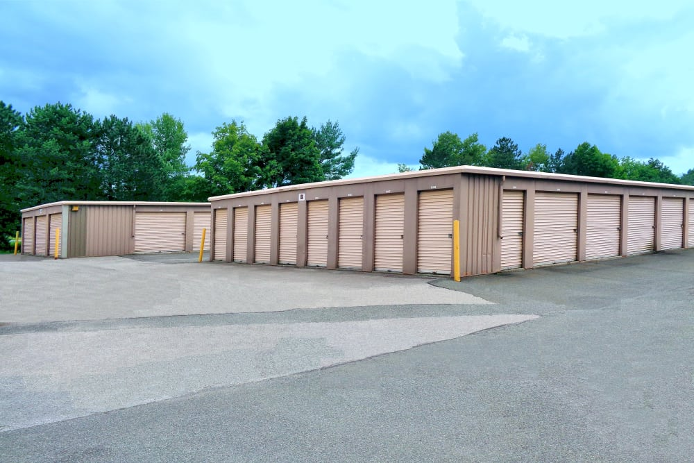 Outdoor storage units with roll up doors at Prime Storage in Latham, New York