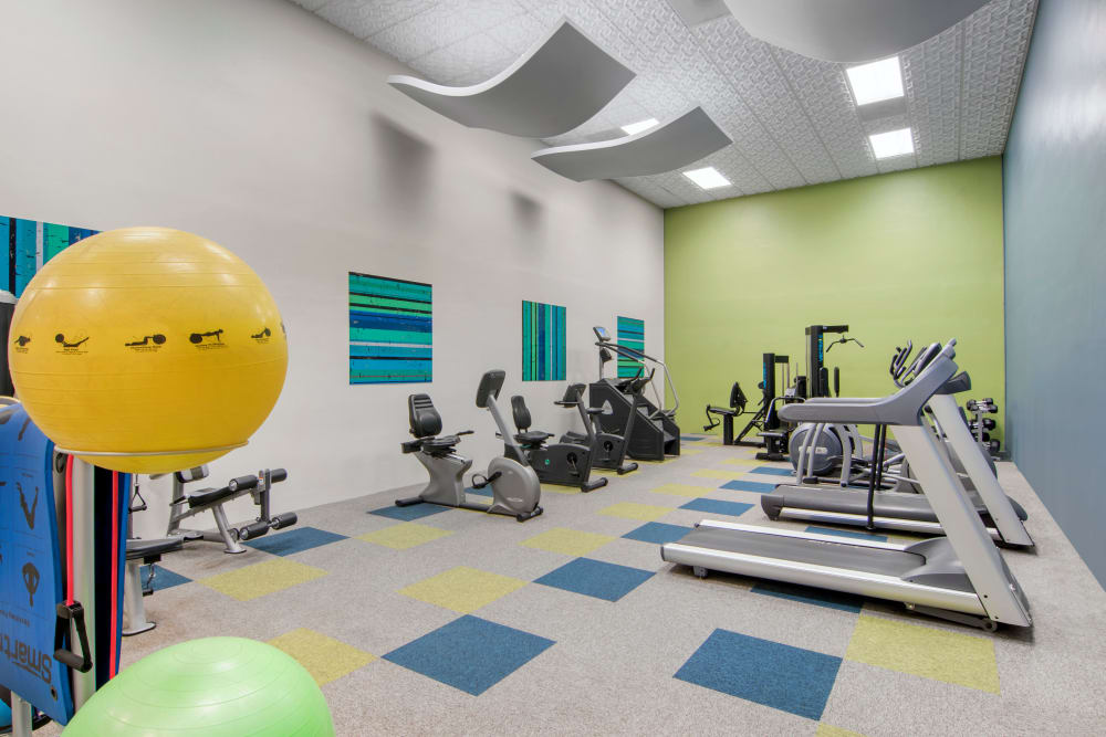 The newly renovated and fully equipped fitness center at Autumn Chase Apartments in Vancouver, Washington