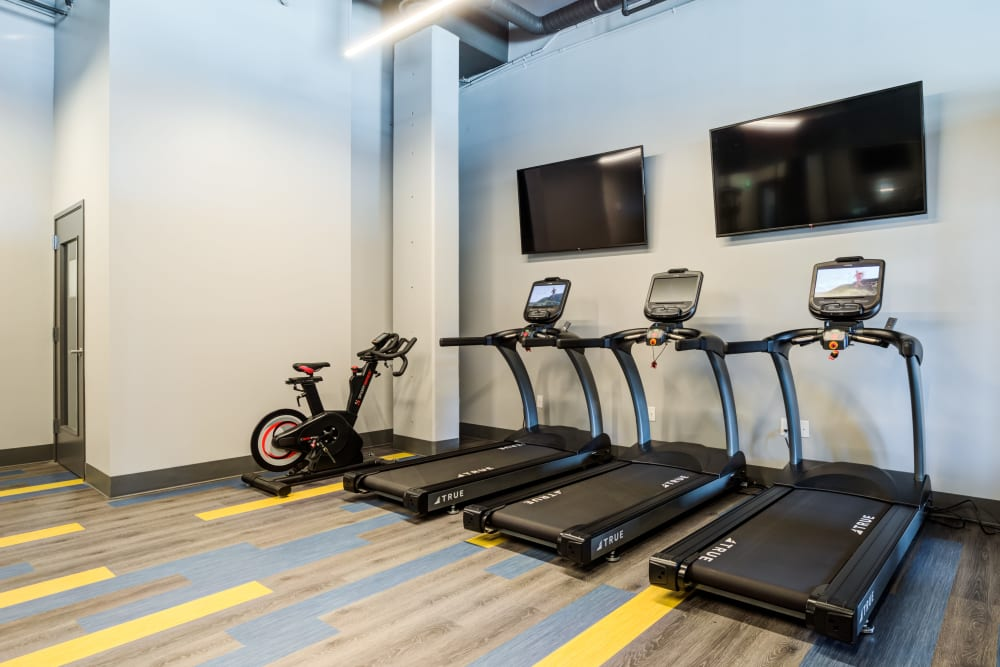 Plenty of treadmills at Lumen Apartments in Everett, Washington