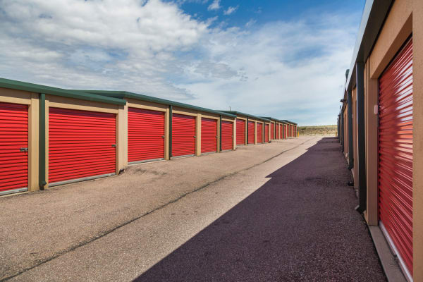Exterior storage units at Smart Space Self Storage - Stetson Hills in Colorado Springs, Colorado